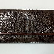 Сумки и аксессуары handmade. Livemaster - original item Women`s purse made of crocodile leather, in dark brown color.. Handmade.
