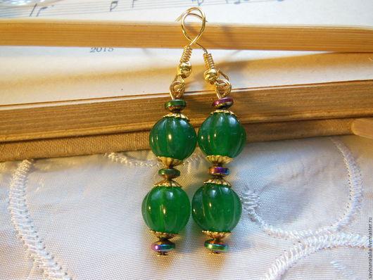 """Серьги ручной работы. Ярмарка Мастеров - ручная работа. Купить Серьги """"Золото и зелень"""". Handmade. Зеленый, красивое украшение, подарок"""