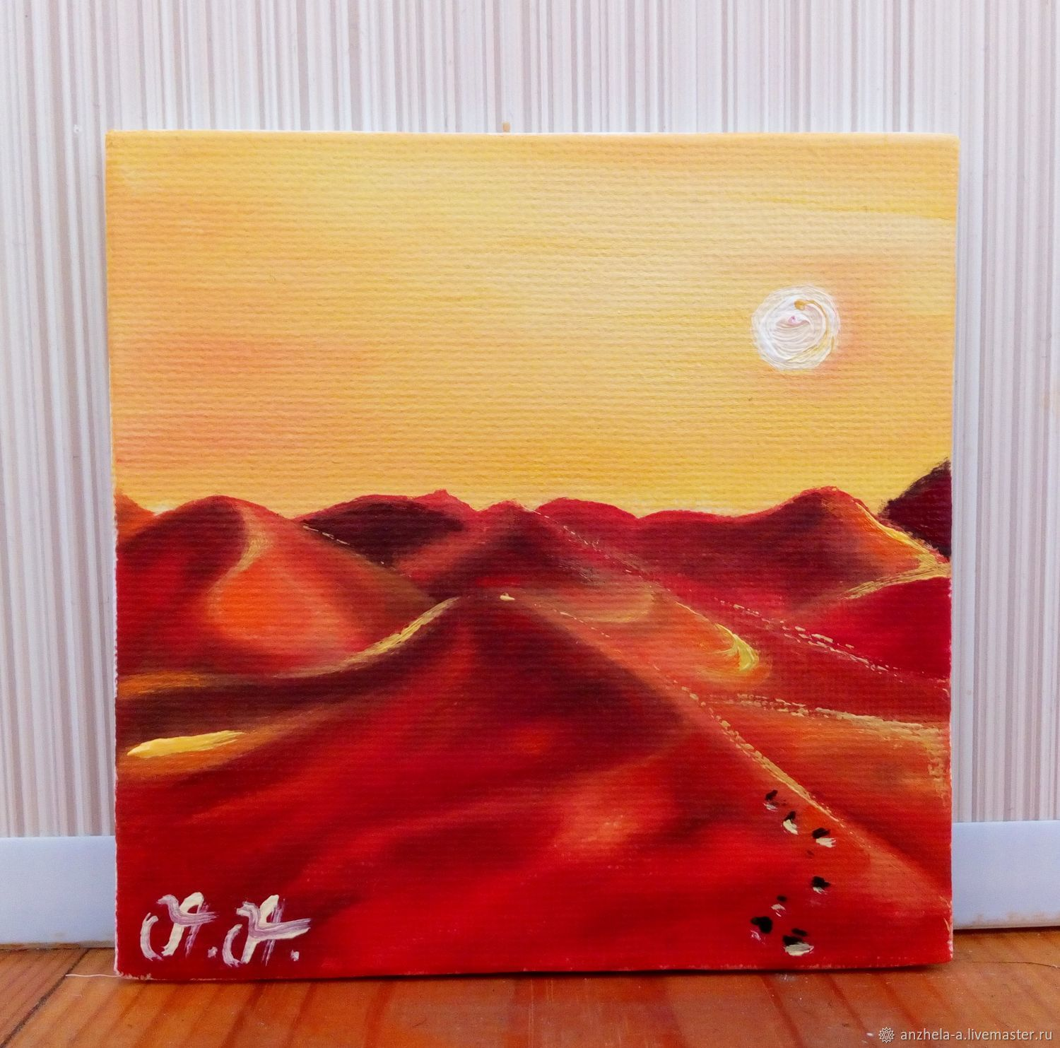 Author's miniature oil painting of the desert landscape 'Mirages' 10/10, Pictures, Moscow,  Фото №1