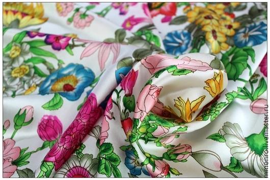 Шитье ручной работы. Ярмарка Мастеров - ручная работа. Купить Ткань натуральный шелк Голландский сад. Handmade. Ткань