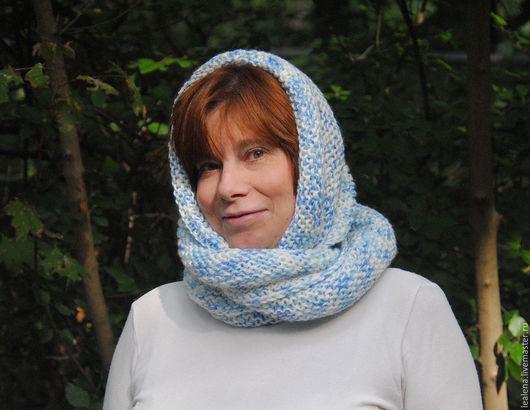 """Шарфы и шарфики ручной работы. Ярмарка Мастеров - ручная работа. Купить Снуд-шарф  бело-голубой меланж """"Эмпирей"""" (акрил). Handmade."""