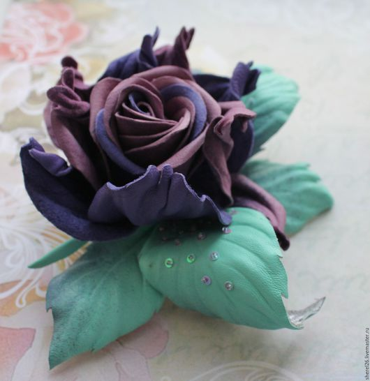 """Цветы ручной работы. Ярмарка Мастеров - ручная работа. Купить Брошь-роза """"Космическая роза"""". Handmade. Роза, брошь из кожи"""