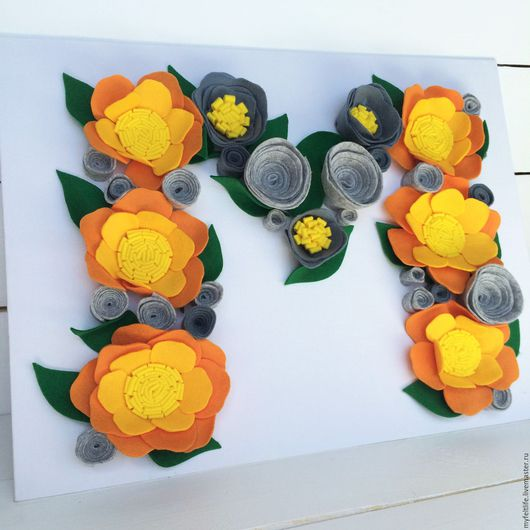 Цветочная буква `М`.  Любая буква из цветов на заказ. Фетровая флористика. MyFeltLife. Алёна Запылёнова