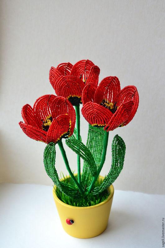 Цветы ручной работы. Ярмарка Мастеров - ручная работа. Купить Тюльпаны из бисера. Handmade. Тюльпаны, цветы, подарок