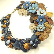 Украшения handmade. Livemaster - original item Denim Coffee Study. Necklace, flowers made of genuine leather. Handmade.
