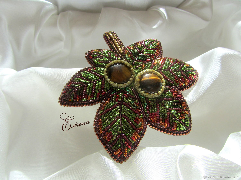 Brooch `Chestnut`. Zolota embroidery