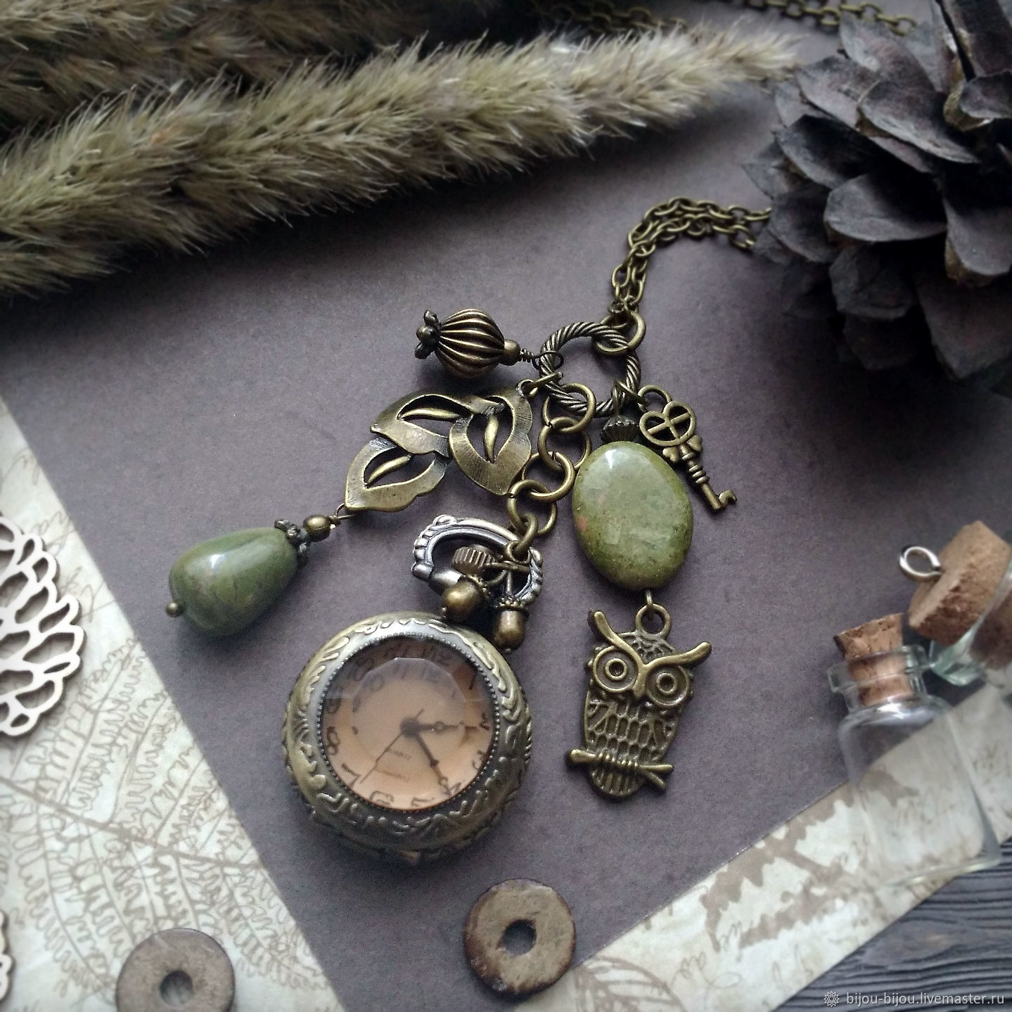Vintage style medallion watch with natural green unakite Owl, Watch medallion, Tyumen,  Фото №1