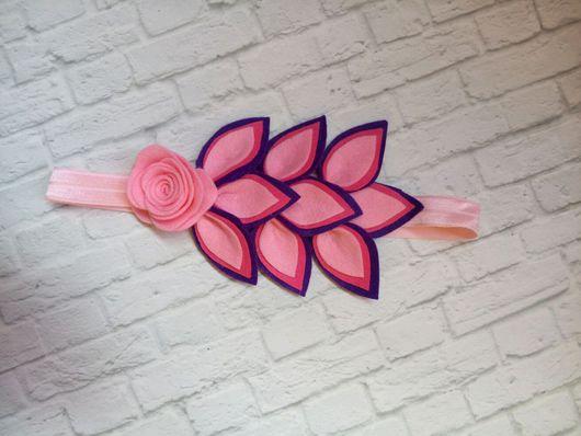 Диадемы, обручи ручной работы. Ярмарка Мастеров - ручная работа. Купить Повязка с цветами из фетра. Handmade. Повязка на голову, фетр
