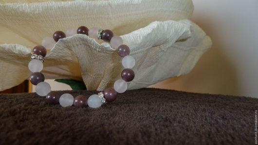 Браслеты ручной работы. Ярмарка Мастеров - ручная работа. Купить Браслет из натуральных камней - Розовый кварц и Авантюрин  / gvn25. Handmade.