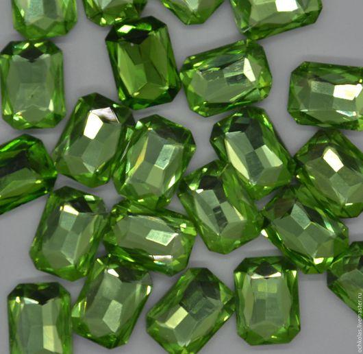 Для украшений ручной работы. Ярмарка Мастеров - ручная работа. Купить Стразы прямоугольник 18х13 мм светло-зеленый. Handmade.