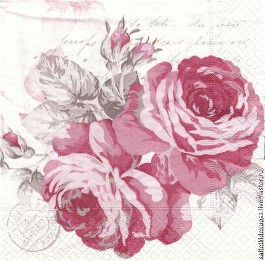 Декупаж и роспись ручной работы. Ярмарка Мастеров - ручная работа. Купить Пышные розы. Салфетка. Handmade. Белый, салфетка для декупажа