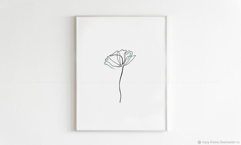 Цветок одной линией, рисунок для печати, принт растение, Иллюстрации и рисунки, Москва,  Фото №1
