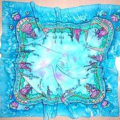 Аксессуары handmade. Livemaster - original item Blue large silk scarf batik silk crepe de Chine. Handmade.