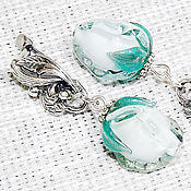 Украшения handmade. Livemaster - original item Mint buds - earrings lampwork. Handmade.