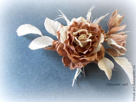 Цветы ручной работы. Ярмарка Мастеров - ручная работа. Купить Брошь-зажим универсальная роза.. Handmade. Коричневый, украшение в прическу