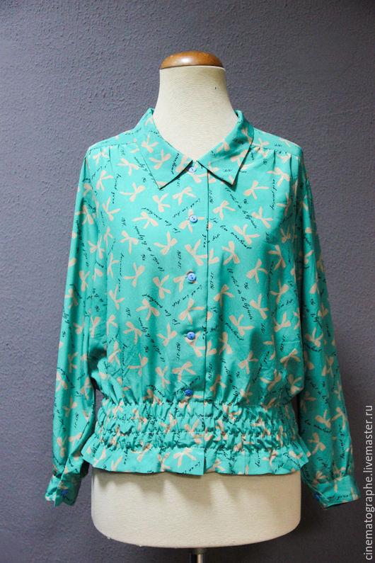 Одежда. Ярмарка Мастеров - ручная работа. Купить Блузка JAPAN винтаж япония. Handmade. Бирюзовый, винтажная блузка, полиестер