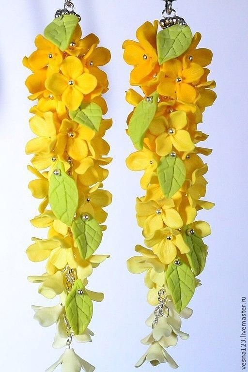 """Серьги ручной работы. Ярмарка Мастеров - ручная работа. Купить Серьги """"Лимонник"""". Handmade. Желтый, серьги с цветами, красивое украшение"""