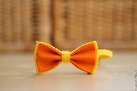 Галстуки, бабочки ручной работы. Ярмарка Мастеров - ручная работа. Купить Бабочка оранжево-желтая детская/взрослая. Handmade. Оранжевый