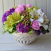 Цветы и флористика ручной работы. Ярмарка Мастеров - ручная работа букет с лилиями и розами из полимерной глины. Handmade.