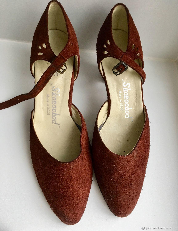 Vintage shoes suede NEW in 38.5 R SKOROKHOD NEW USSR, Vintage shoes, St. Petersburg,  Фото №1
