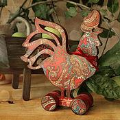 Куклы и игрушки handmade. Livemaster - original item Cock on wheels. Decoupage. Handmade.