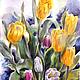 Наталия Хохлова. Жёлтые тюльпаны. Акварель