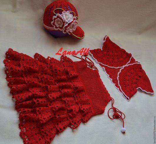 Одежда для девочек, ручной работы. Ярмарка Мастеров - ручная работа. Купить Платье Ягодка. Handmade. Ярко-красный, кепка для девочки