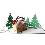 Открытки handmade. Livemaster - original item New year`s house3D volume handmade greeting card. Handmade.