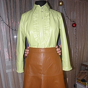 Одежда ручной работы. Ярмарка Мастеров - ручная работа Кожаный костюм Вдохновлённая Гуччи (Gucci): кожаная блузка и  юбка. Handmade.