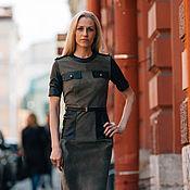 """Одежда ручной работы. Ярмарка Мастеров - ручная работа Платье """"Хаки"""" комбинированное из натуральной замши/кожи. Handmade."""