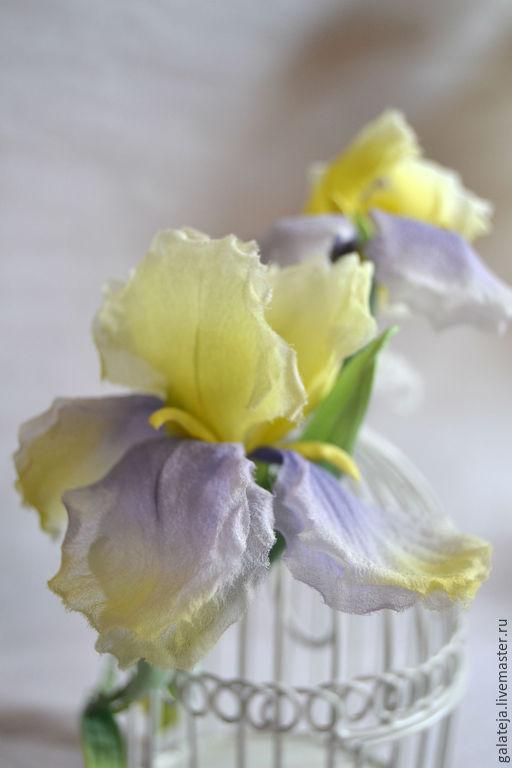 Диадемы, обручи ручной работы. Ярмарка Мастеров - ручная работа. Купить Цветы из шелка Ободок Пленительный Ирис. Handmade. Лимонный