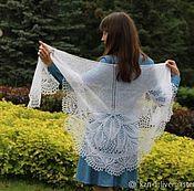 handmade. Livemaster - original item Fishnet knitted shawl White Gentiana. Handmade.