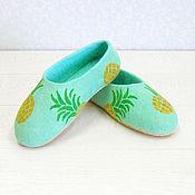 Обувь ручной работы handmade. Livemaster - original item Womens Slippers for home with pineapples. Handmade.