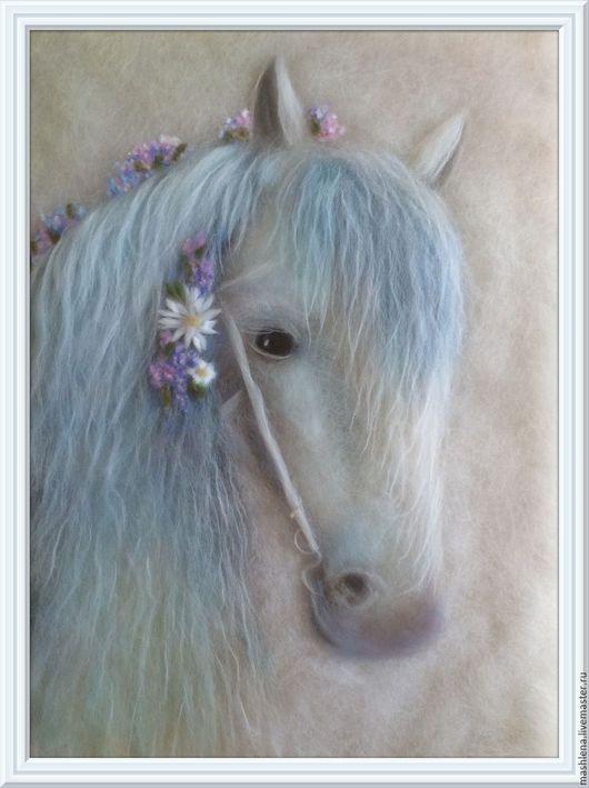 Животные ручной работы. Ярмарка Мастеров - ручная работа. Купить Шерстяная картина Лошадь-невеста. Handmade. Белый, картина из шерсти