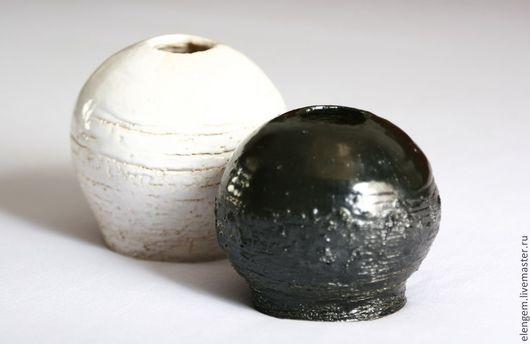 """Вазы ручной работы. Ярмарка Мастеров - ручная работа. Купить Комплект керамических ваз """" черное и белое"""". Handmade. глазури"""