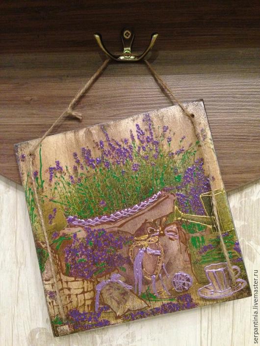 Картины цветов ручной работы. Ярмарка Мастеров - ручная работа. Купить Декоративное панно-картинка Запах лаванды. Handmade. Фиолетовый