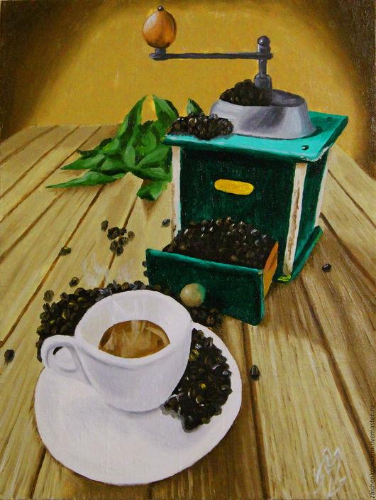 """Натюрморт ручной работы. Ярмарка Мастеров - ручная работа. Купить Кофейные мотивы """"Зелёная кофемолка"""". Handmade. Комбинированный, зерна кофе"""
