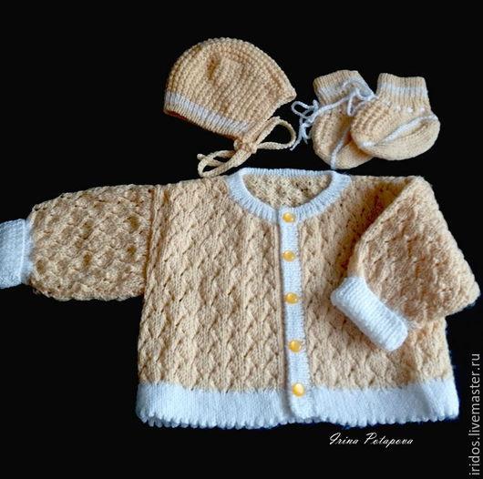Для новорожденных, ручной работы. Ярмарка Мастеров - ручная работа. Купить Вязаный комплект для новорожденного. Handmade. Желтый, кофточка для малыша