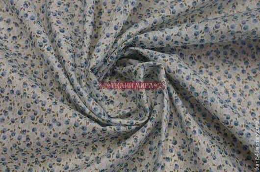 Шитье ручной работы. Ярмарка Мастеров - ручная работа. Купить Ткань плат. хлопок мелкий цветочек, 120 см, голубой. Handmade.