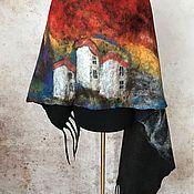 Аксессуары ручной работы. Ярмарка Мастеров - ручная работа Мексиканский закат Палантин из шифона и шерсти. Handmade.
