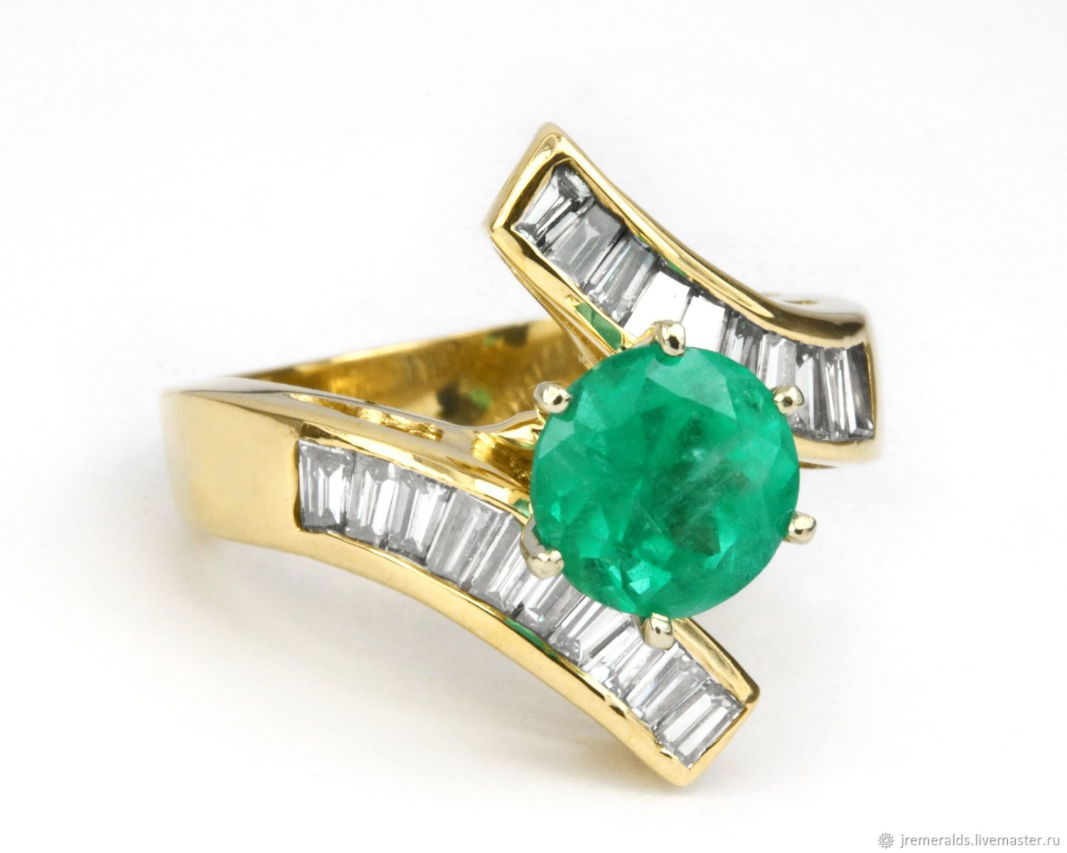 2.28 tw Round Colombian Emerald & Bypass Baguette Diamond Engagement R, Rings, West Palm Beach,  Фото №1