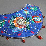 Украшения handmade. Livemaster - original item Necklace GARDEN-FANTASY linen, surface, beads, sequins. Handmade.