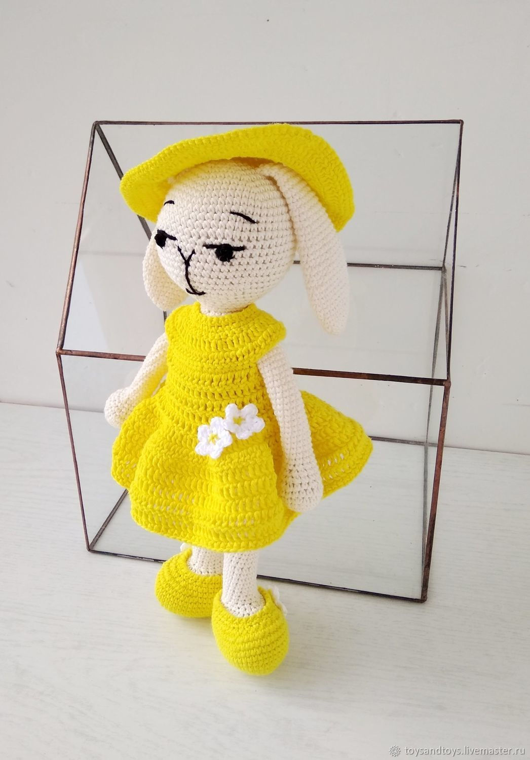 Girl Bunny-lemon in a dress, hat and shoes. , Stuffed Toys, Gukovo,  Фото №1