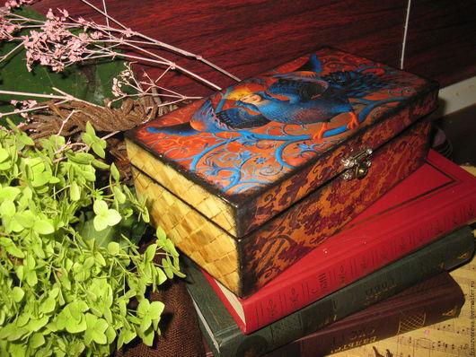 """Шкатулки ручной работы. Ярмарка Мастеров - ручная работа. Купить """"Гамаюн""""-РЕЗЕРВ. Handmade. Разноцветный, подарок женщине, сказочные существа"""