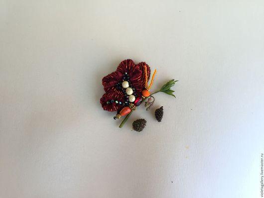 Броши ручной работы. Ярмарка Мастеров - ручная работа. Купить брошь. Handmade. Бордовый, с бабочкой, уникальный подарок, лето 2016