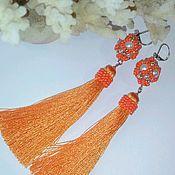 Украшения handmade. Livemaster - original item Earrings tassels long orange bead 047. Handmade.