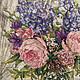 """Картины цветов ручной работы. Вышитая картина """"Пионы и дельфиниумы"""". Гульназ (gulnaz_g). Ярмарка Мастеров. Пионы, цветы крестиком"""