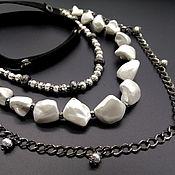 Украшения handmade. Livemaster - original item Necklace black and white three-row