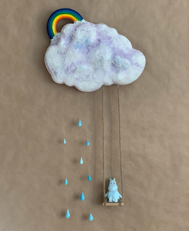 Муми тролль качается на облаке. Фигура из папье-маше и глины, Скульптуры, Москва,  Фото №1