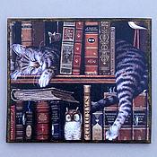 """Для дома и интерьера ручной работы. Ярмарка Мастеров - ручная работа Ключница """"Кот-книгочей"""". Handmade."""